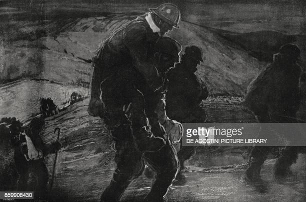 The wounded being brought from the front line to dressing stations at night Italian World War I drawing by G Biasi from L'Illustrazione Italiana Year...