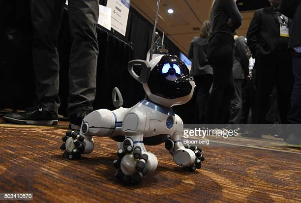 The WowWee CHiP robot dog is seen at the 2016 Consumer Electronics Show in Las Vegas Nevada US on Monday Jan 4 2016 CES is expected to bring a range...