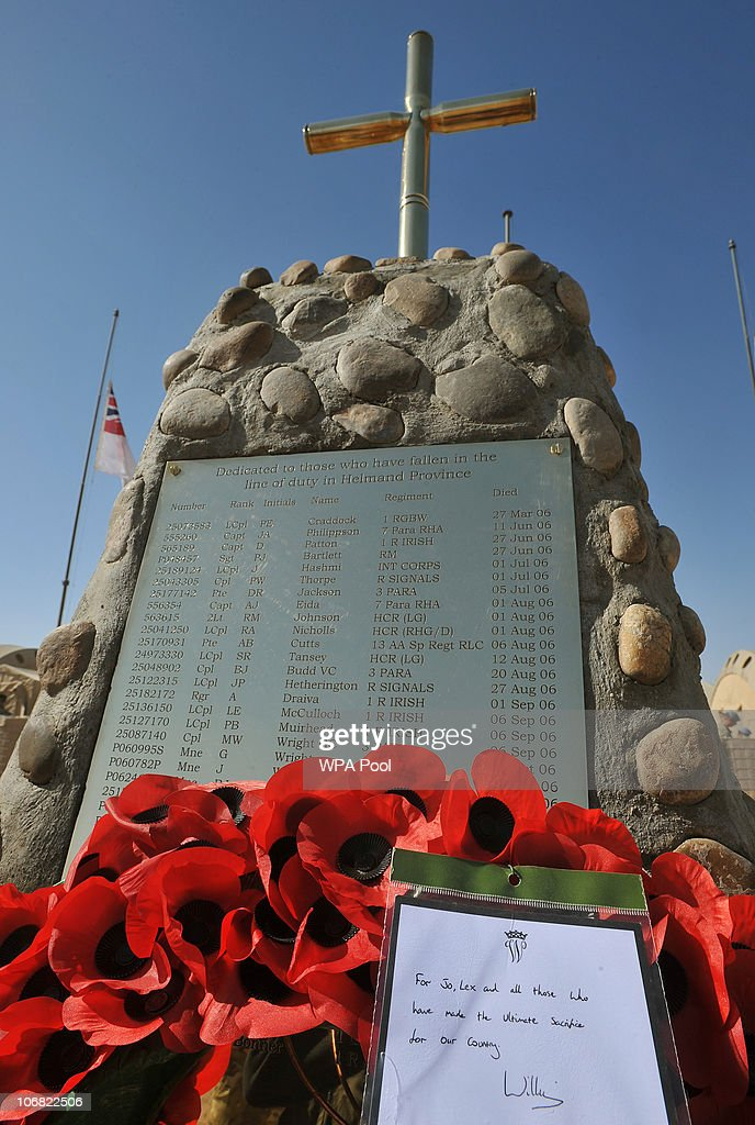 The wreath placed by Prince William stands at the foot of the memorial to the British Soliders killed in Afghanistan during a Remembrance Day...