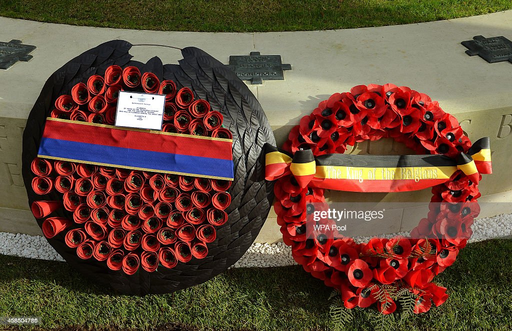The wreaths from Queen Elizabeth II and King Philippe of Belgium are seen during the opening of the Flanders Field Memorial outside the Guards Chapel on November 6, 2014 in London, England.