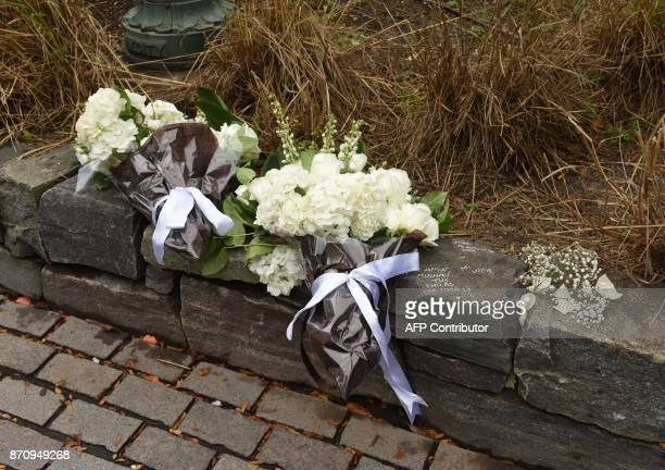The wreaths placed by President Mauricio Macri of Argentina along with the First Lady of Argentina Juliana Awada are seen during a ceremony on a bike...