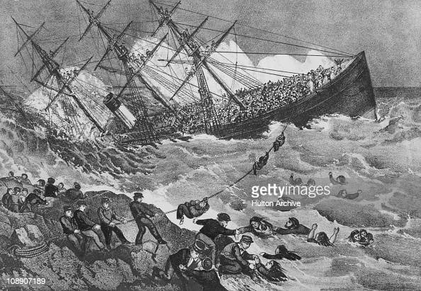 'The Wreck Of The Atlantic' 1st April 1873 The White Star Line steamer collided with Golden Rule Rock near Mars Island off Nova Scotia and sank with...