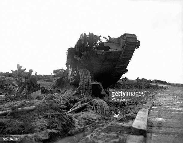 The wreckage of a British tank beside the infamous Menin Road near Ypres Belgium