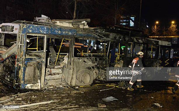 The wreckage of a bus is seen after an explosion in Ankara's central Kizilay district on March 13 2016 in Ankara Turkey The Ankara governor's office...