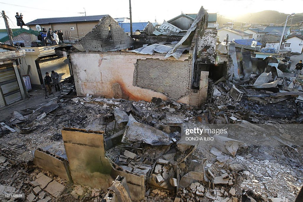 The wreckage of buildings destroyed by North Korea's artillery shelling is seen on Yeonpyeong island in the disputed waters of the Yellow Sea on...