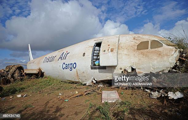 The wreckage of cargo plane carrying supplies for African Union peacekeeping force troops is pictured after he crashlanded outside Somalia's capital...