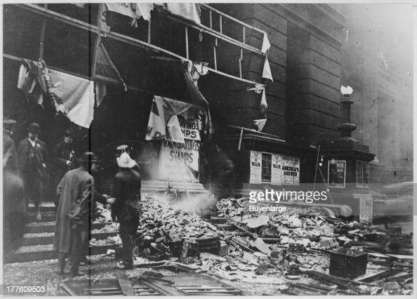 The wreckage of Chicago's Federal Building after the explosion of a bomb allegedly planted by the Industrial Workers of the World as a reprisal for...