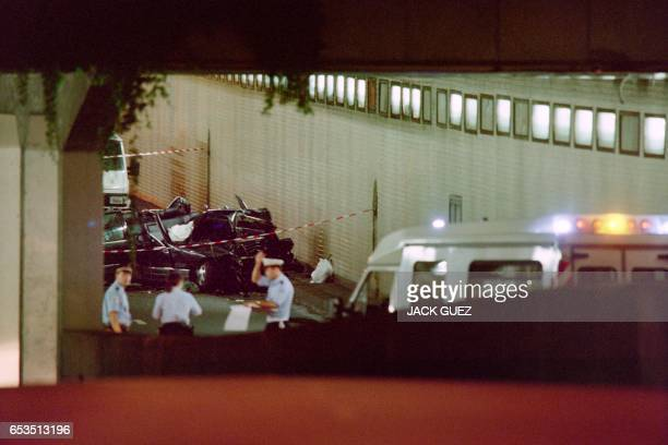 The wreckage of Princess Diana's car lies in a Paris tunnel on August 31 1997 Diana and companion Dodi Al Fayed were killed during the traffic...