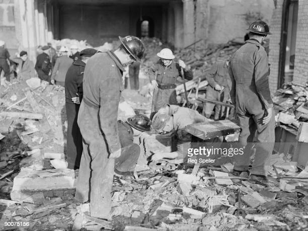 The wreckage of Sandhurst Road School in Catford south London the day after it was partially destroyed in a German bombing raid 21st January 1943...