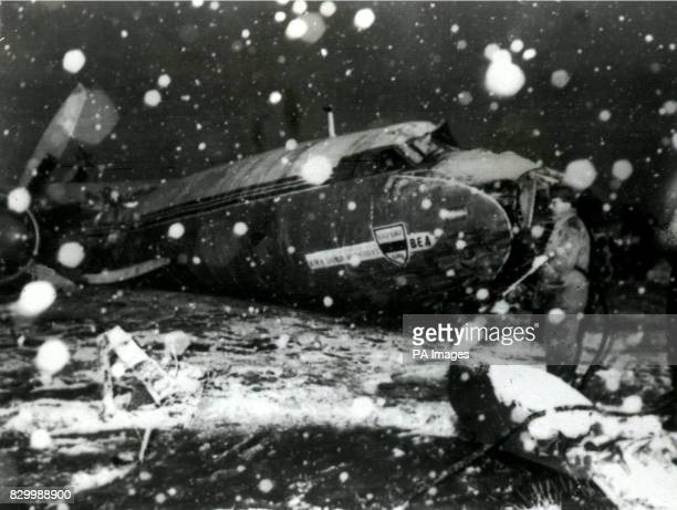 The wreckage of the British European Airways plane which crashed in Munich on February 6 while bringing home members of the Manchester United...