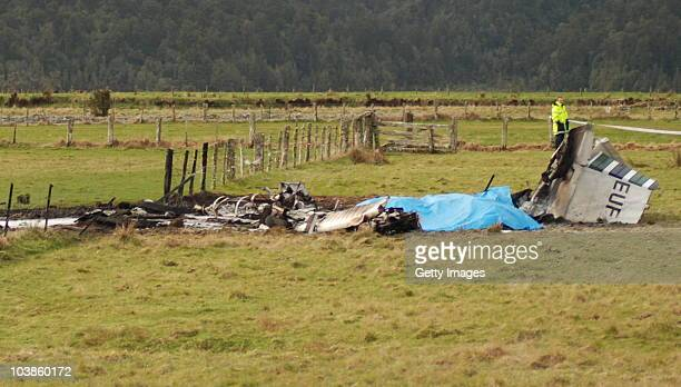 The wreckage of the crashed skydiving plane is seen at the end of the runway at Fox Glacier Airport on September 4 2010 in Fox Glacier New Zealand...