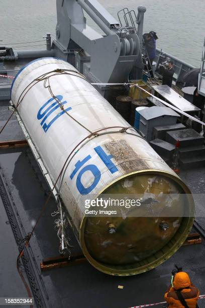 The wreckage of the North Korea's rocket is seen at the Second Fleet Command's naval base on December 14 2012 in Pyeongtaek South Korea The debris is...