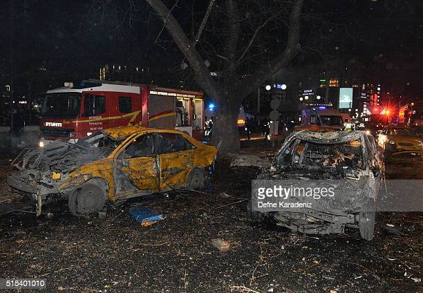 The wreckage of two cars is seen after an explosion in Ankara's central Kizilay district on March 13 2016 in Ankara Turkey The Ankara governor's...
