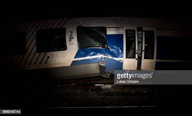 The wreckage of two trains that collided in MeerbueschOsterath district are seen on December 5 2017 in Dusseldorf GermanyAccording to German state...