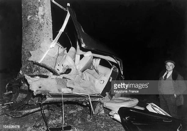 The wrecked car in which the writer Albert CAMUS died at the age of 47 pictured on January 5 1960