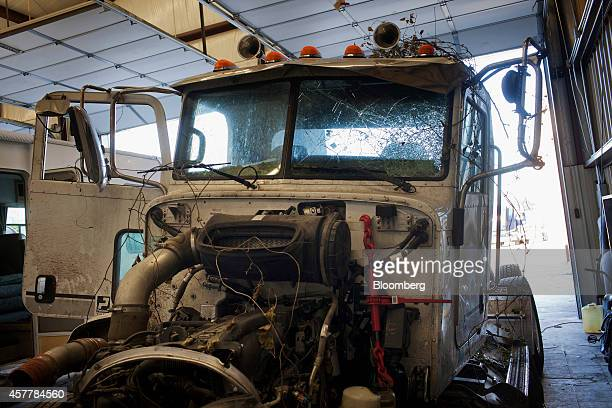 The wrecked hull of trucker Russell Staley's tractor trailer involved in the crash that killed four members of the North Central Texas College...