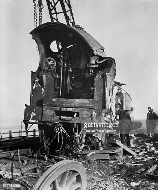 The wrecked locomotive of the London Midland and Scottish Railway's Liverpool express the day after it derailed at Lytham St Annes Lancashire on its...