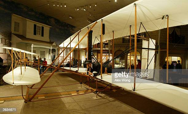 The Wright Flyer is displayed during an exhibition about the Wright brothers and the invention of the aerial age at the Smithsonian National Air and...