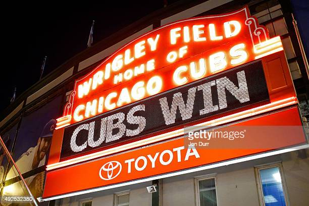 The Wrigley Field marquee shows 'Cubs Win' after the Chicago Cubs beat the St Louis Cardinals in Game Four to win the National League Divisional...