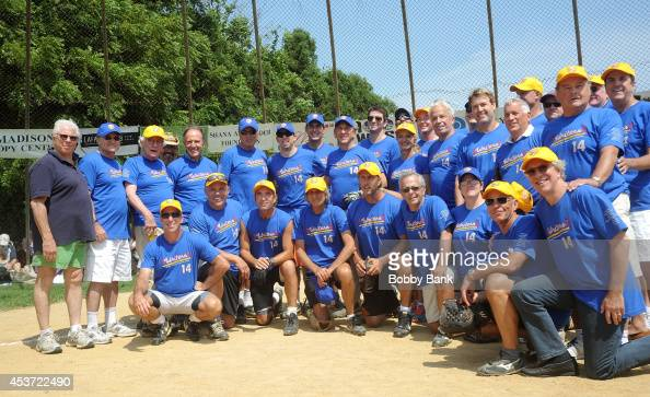 The Writers team attends the 2014 East Hampton Artists Writers Celebrity Softball Game at Herrick Park on August 16 2014 in East Hampton New York