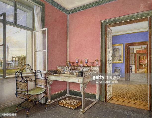 The writing desk of the princess in Charlottenhof Palace 18331834 watercolour by an unknown artist Germany 19th century