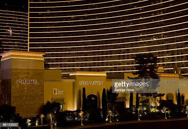The Wynn Hotel and a cluster of luxury retail stores including Chanel and Dior are seen from ground level on the Las Vegas Strip in this 2009 Las...