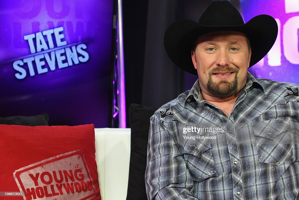 'The X Factor' winner <a gi-track='captionPersonalityLinkClicked' href=/galleries/search?phrase=Tate+Stevens&family=editorial&specificpeople=9748309 ng-click='$event.stopPropagation()'>Tate Stevens</a> visits the Young Hollywood Studio on December 21, 2012 in Los Angeles, California.