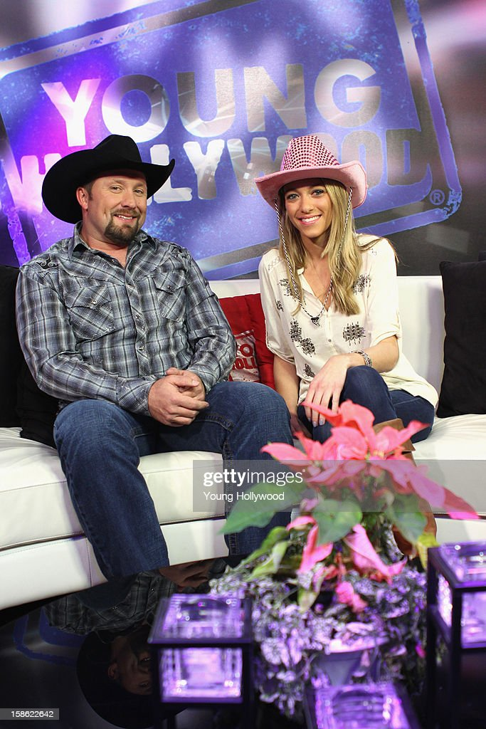 'The X Factor' winner Tate Stevens (L) visits with host Tracy Behr (R) at the Young Hollywood Studio on December 21, 2012 in Los Angeles, California.