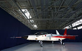 The X2 advanced technological demonstrator aircraft stands in the hanger of Mitsubishi Heavy Industries Ltd's Nagoya Aerospace Systems Works Komaki...