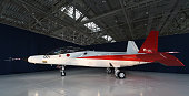 The X2 advanced technological demonstrator airplane for the Japanese Air Self Defence Forces is displayed for the media at the Mitsubishi Heavy...