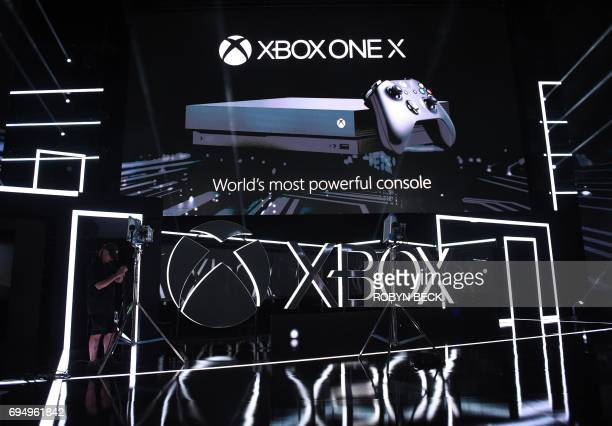 The Xbox One X is introduced at the Microsoft Xbox E3 2017 Briefing June 11 2017 at the Galen Center in Los Angeles California The Electronic...