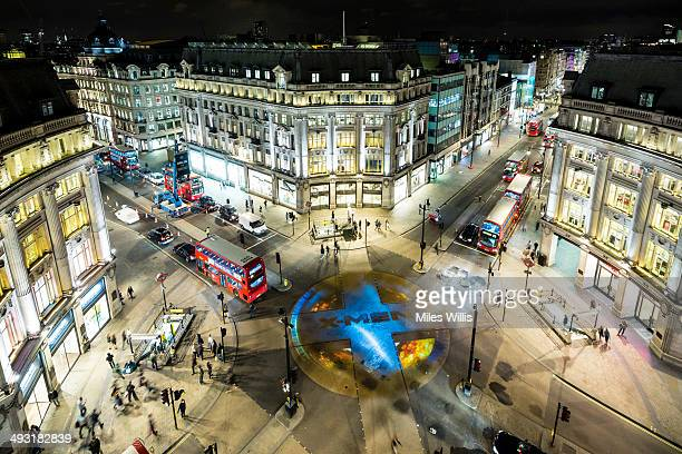 The XMen Days of Future Past logo lights up London's iconic Oxford Circus 'X' crossing on May 21 2014 in London England