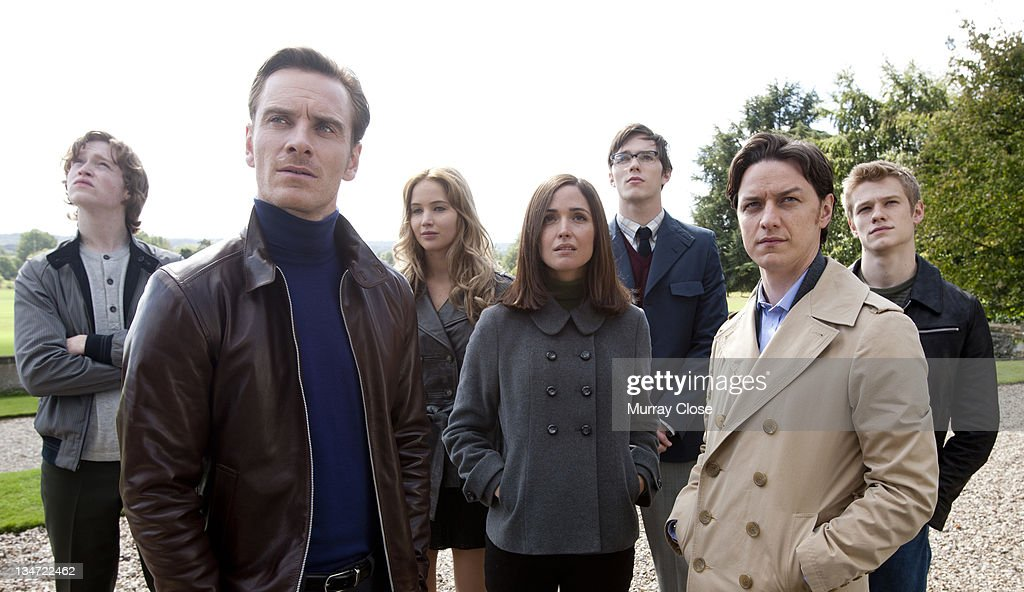 The X-Men survey the X-Mansion (filmed at Englefield House in Berkshire) in a scene from the film 'X-Men: First Class', 2011. From left to right, actors Caleb Landry Jones, <a gi-track='captionPersonalityLinkClicked' href=/galleries/search?phrase=Michael+Fassbender&family=editorial&specificpeople=4157925 ng-click='$event.stopPropagation()'>Michael Fassbender</a>, <a gi-track='captionPersonalityLinkClicked' href=/galleries/search?phrase=Jennifer+Lawrence&family=editorial&specificpeople=1596040 ng-click='$event.stopPropagation()'>Jennifer Lawrence</a>, <a gi-track='captionPersonalityLinkClicked' href=/galleries/search?phrase=Rose+Byrne&family=editorial&specificpeople=206670 ng-click='$event.stopPropagation()'>Rose Byrne</a>, <a gi-track='captionPersonalityLinkClicked' href=/galleries/search?phrase=Nicholas+Hoult&family=editorial&specificpeople=598892 ng-click='$event.stopPropagation()'>Nicholas Hoult</a>, <a gi-track='captionPersonalityLinkClicked' href=/galleries/search?phrase=James+McAvoy&family=editorial&specificpeople=647005 ng-click='$event.stopPropagation()'>James McAvoy</a> and <a gi-track='captionPersonalityLinkClicked' href=/galleries/search?phrase=Lucas+Till&family=editorial&specificpeople=5655053 ng-click='$event.stopPropagation()'>Lucas Till</a>.