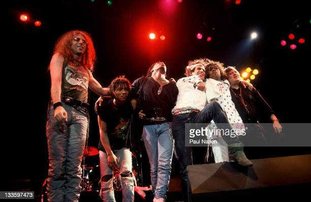 The Xpensive Winos take a bow from the stage following a performance on their 'Main Offender' tour early 1993 Pictured are from left Waddy Wachtel...