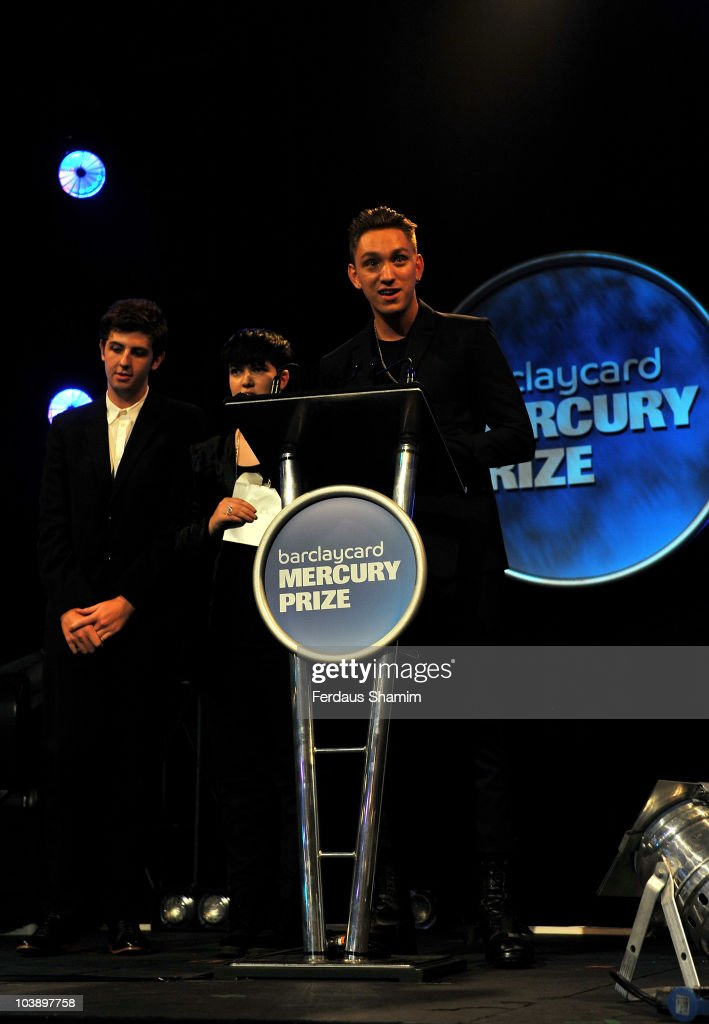 The xx with Oliver Sim Jamie Smith and Romy Madley Croft collect their award for the album 'xx' after winning the Barclaycard Mercury Prize at the...
