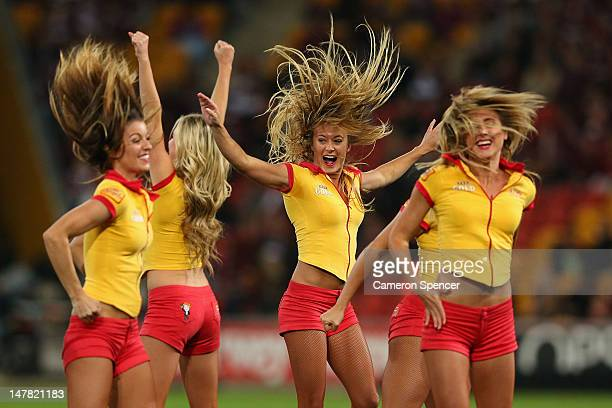 The XXXX Angels perform during game three of the 2012 State of Origin series between the Queensland Maroons and the New South Wales Blues at Suncorp...