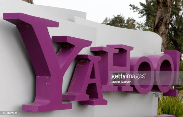 The Yahoo logo is seen on a sign outside of the Yahoo Sunnyvale campus January 22 2008 in Sunnyvale California Yahoo is poised to lay off hundreds of...