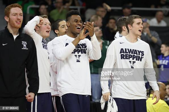 The Yale Bulldogs bench reacts in the second half against the Baylor Bears during the first round of the 2016 NCAA Men's Basketball Tournament at...