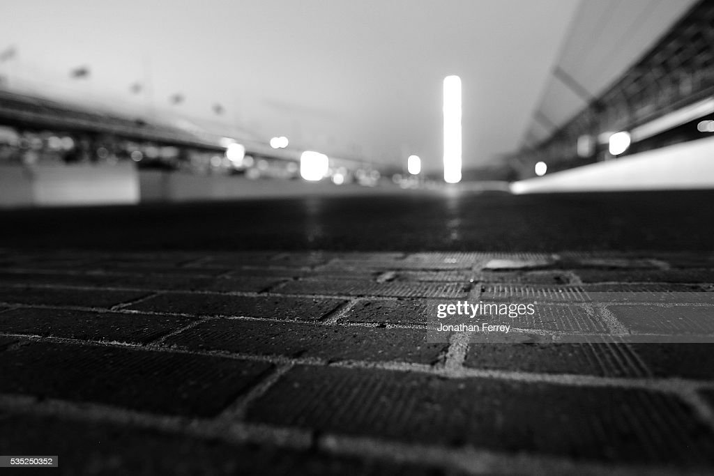 The yard of brick on the front stretch before the 100th Running of the Indianapolis 500 Mile Race at Indianapolis Motorspeedway on May 29, 2016 in Indianapolis, Indiana.