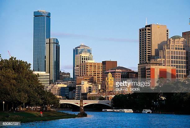 The Yarra river and skyscrapers in Melbourne Victoria Australia