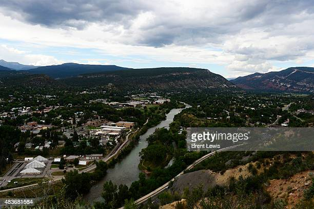 The yellow color of that dominated the river last week as turned a greenish color August 11 2015 along Animas River The Gold King Mine wastewater...