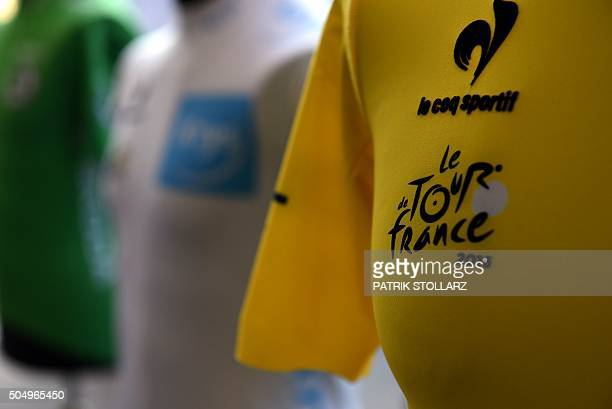 The yellow jersey of the Tour de France is seen during a press conference in Duesseldorf on January 14 2015 to present the 2017 edition of the Tour...