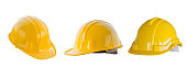 The yellow safety helmet isolated with white background