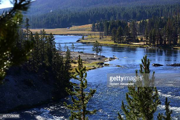 The Yellowstone River flows through Yellowstone National Park in Wyoming
