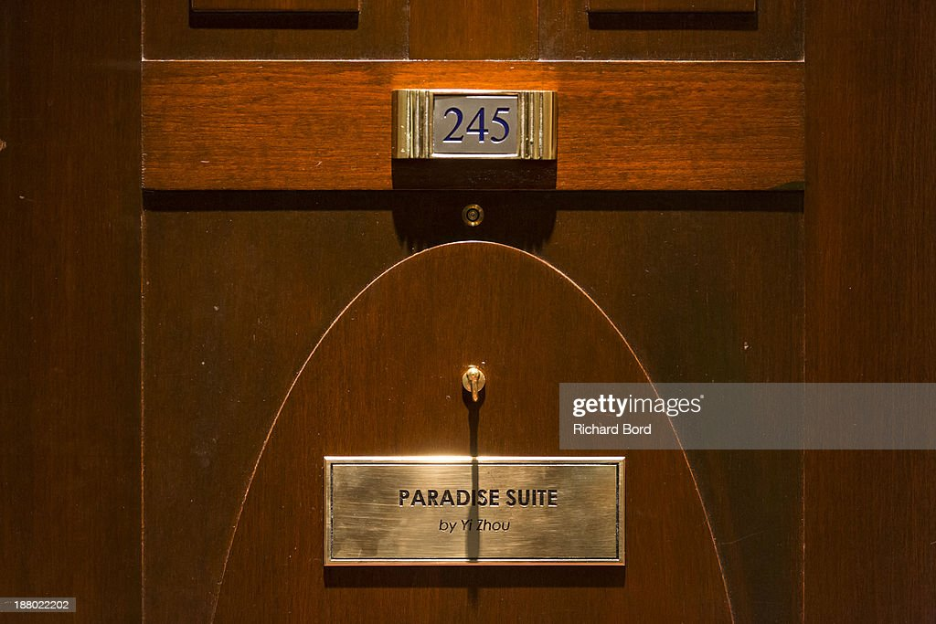 The Yi Zhou's 'Paradise Suite' door at Hotel Lutetia on November 14, 2013 in Paris, France.