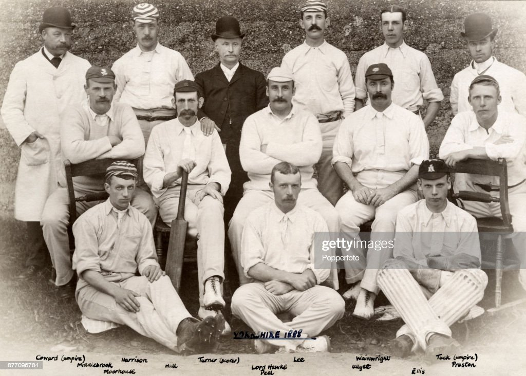 The Yorkshire County Cricket team, circa 1888. Left to right, back row: Coward (umpire), George Harrison, Turner (scorer), Frederick Lee, Ted Wainwright and Tuck (umpire); middle row: Willie Middlebrook, Louis Hall, Lord Hawke, George Ulyett and Joseph Preston; front row: Robert Moorhouse, Bobby Peel and John Ellis.