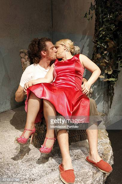 The young Italian actors Maurizio Lastrico and Katia Follesa kiss each other during the rehearsal of A Midsummer Night's Dream by William Shakespeare...