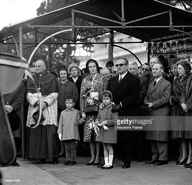 The Young Princess Caroline of Monaco and family at the christening of Monaco Yacht Club training ship called 'Princesse Caroline' on January 28 1963...