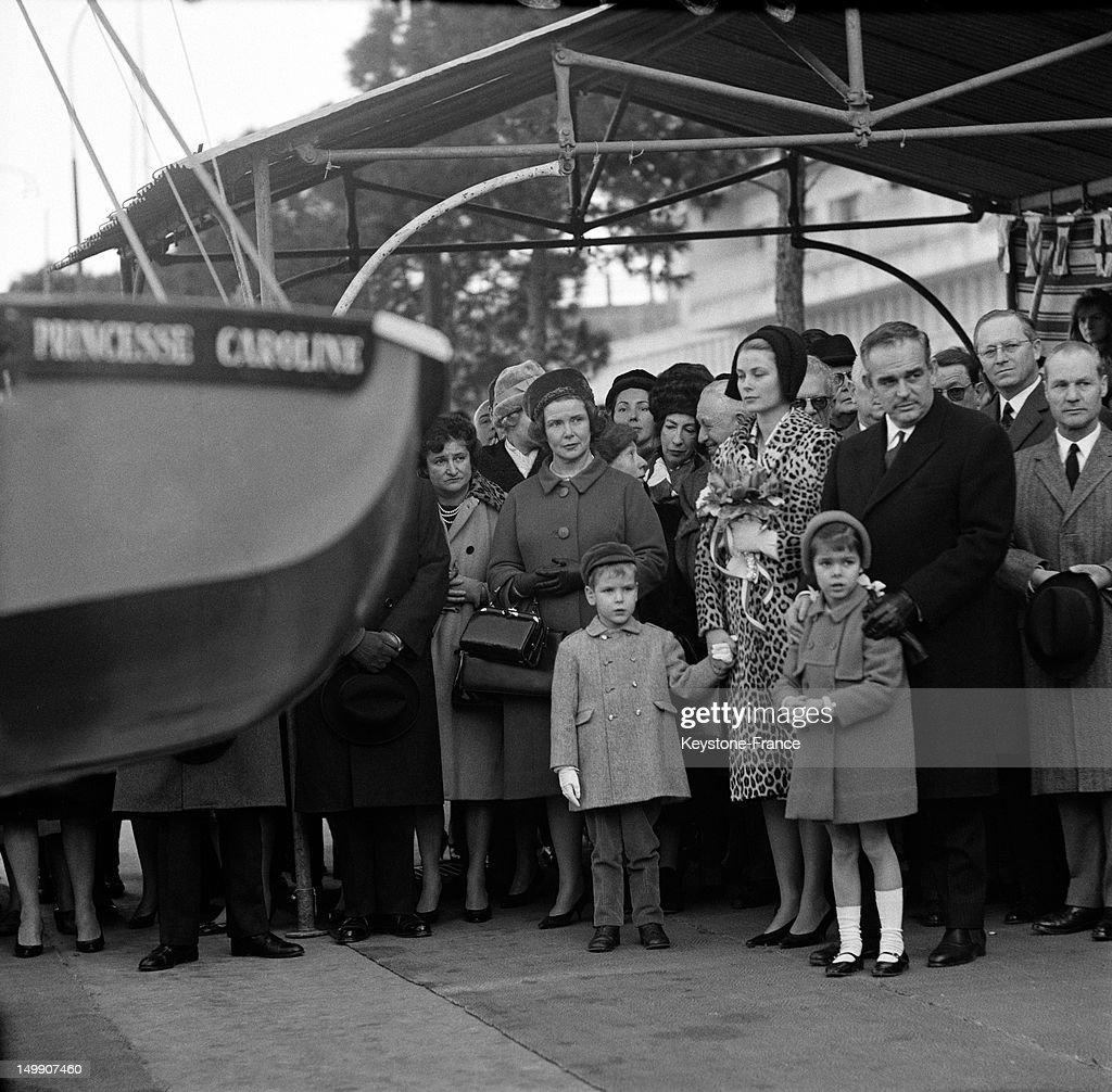The Young Princess Caroline of Monaco and family at the christening of Monaco Yacht Club training ship called 'Princesse Caroline' on January 28 1963...