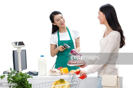 the young woman to pay the cashier stock photo getty images